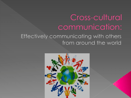 Cross-cultural communication - University of South Carolina