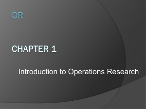 What is Operations Research?