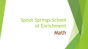Math Workshop - Spout Springs Elementary