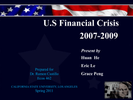 The U.S's Financial Crisis of 2007-2009