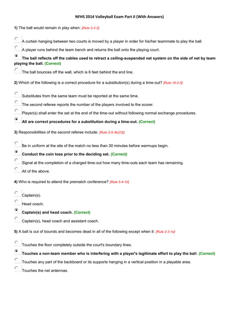 Nfhs 2014 Volleyball Exam Part Ii With Answers 1 The Ball Would