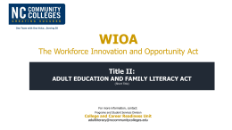 WIOA Title II - North Carolina Community College System