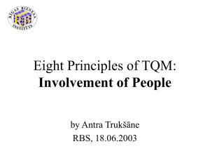 Eight Principles of TQM: Customer Focus