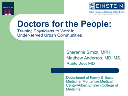 training physicians to work in underserved urban communities