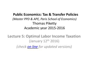 Public Economics: Tax & Transfer Policies (Master PPD & APE