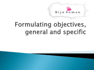 Formulating objectives, general and specific