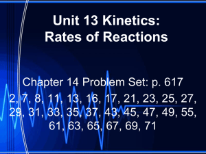 Unit 13 Kinetics: Rates of Reactions