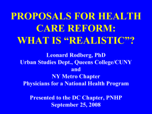 Proposals for Health Care Reform