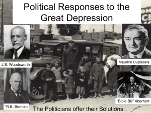 The Political Response to the Great Depression