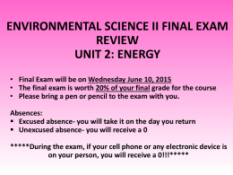environmental science ii final exam review unit 2: energy