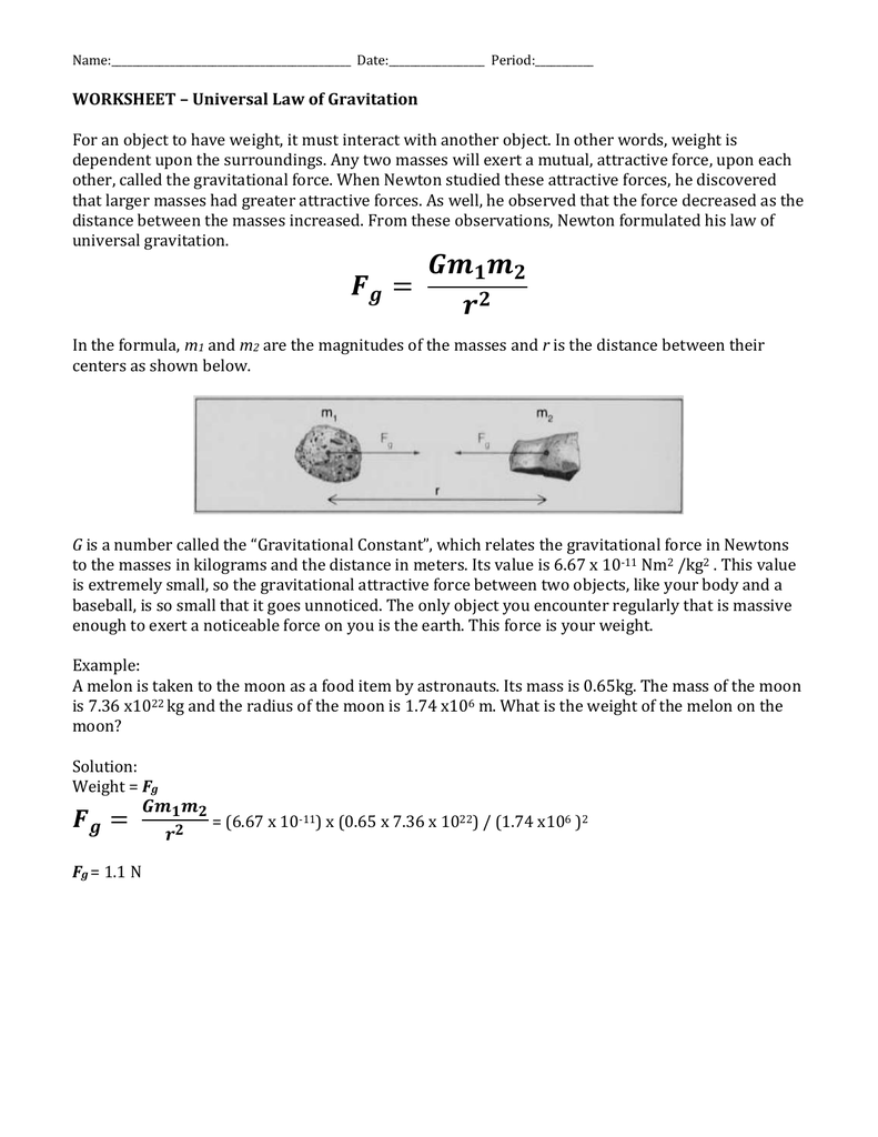Gravitation WS – Universal Law of Gravitation Worksheet
