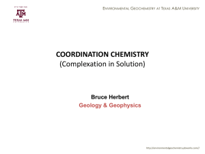 Complexation in Solution - environmentalgeochemistry