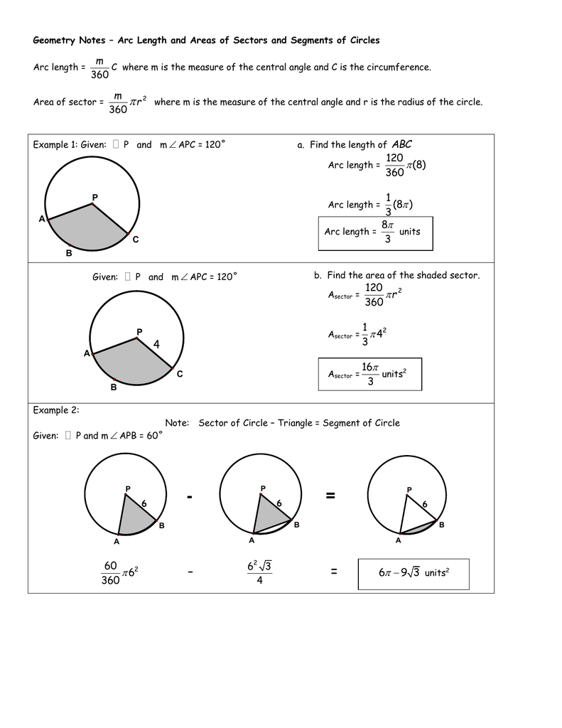 Worksheets Area Of A Sector Worksheet geometry notes arc length and areas of sectors segments of