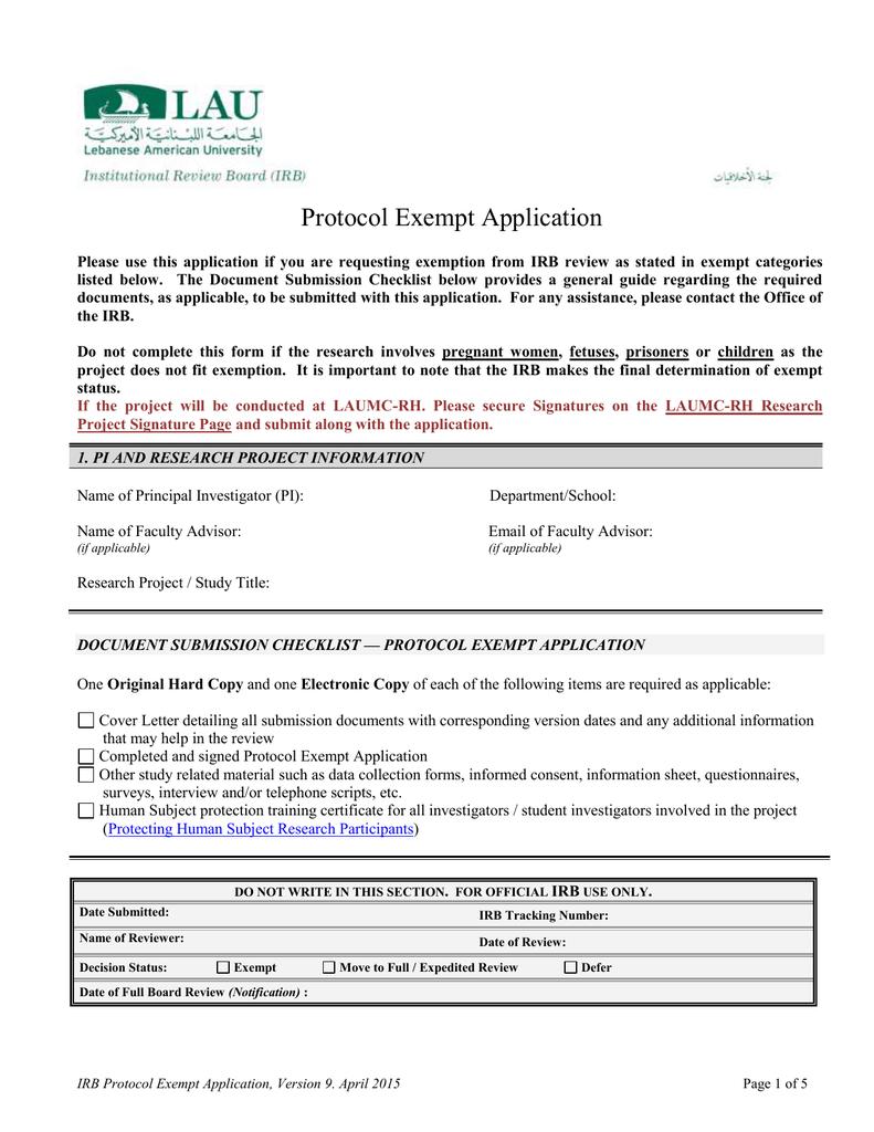 Protocol Exempt Application - LAU