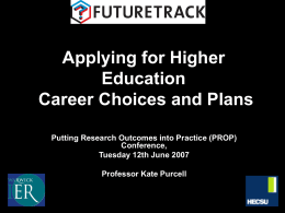 Applying for Higher Education: Career Choices and Plans