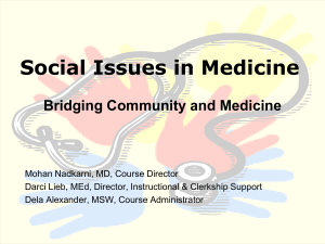 Social Issues in Medicine - Curry School of Education
