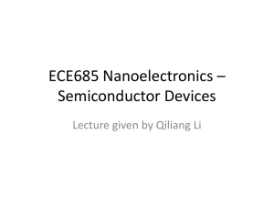 ECE685 Nanoelectronics * Semiconductor Devices