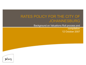 RATES POLICY FOR THE CITY OF JOHANNESBURG
