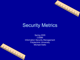 Security Metrics - Information Systems and Internet Security