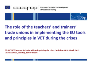 CEDEFOP the role of Teachers' unions in VET