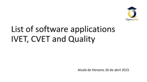 List of software applications IVET, CVET and Quality