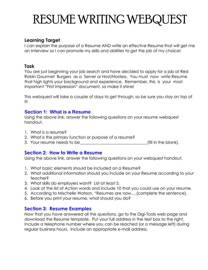 RESUME WRITING WEBQUEST Learning Target I Can Explain The Purpose Of A Resume AND Write An Effective That Will Get Me Interview So Promote