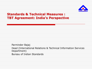 Standards & Technical Measures : TBT Agreement