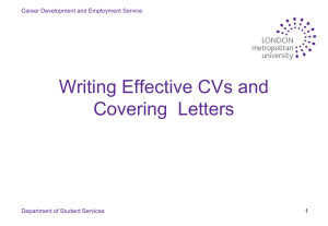 Introduction to Writing a CV and Covering Letter