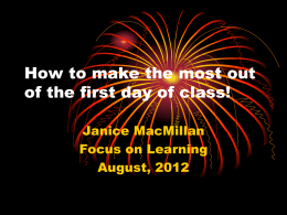 Make the most out of the first day of class!