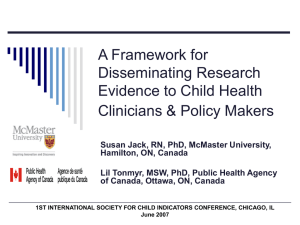 A Framework for Disseminating Research Evidence to Child Health