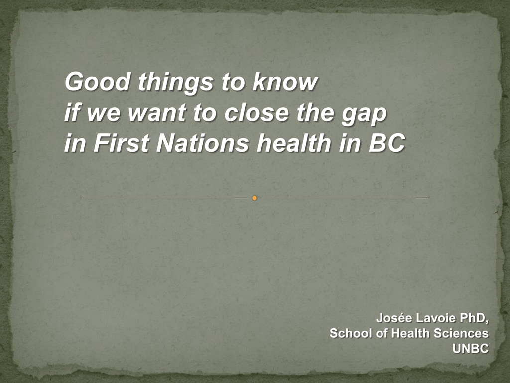 Transformative Change Accord First Nations Health Plan
