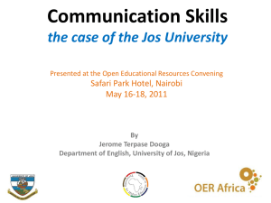 PHEA/ Communication Skills * the case of Jos University