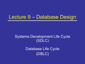 Lecture 9 – Database Design