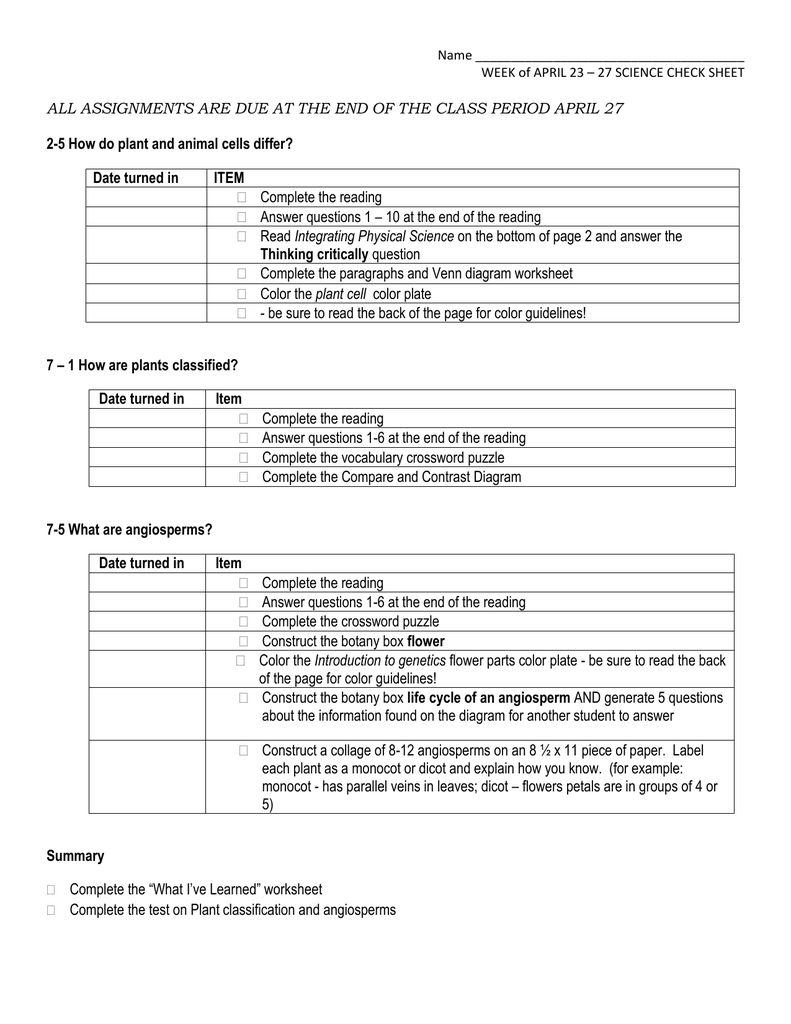 worksheet Classification Of Plants Worksheet check list week three readings and tasks