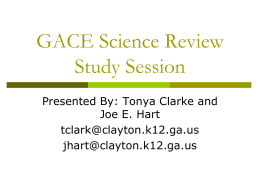 GACE Science Review Study Session