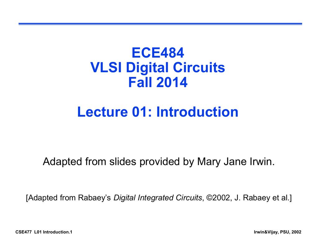 Cse 477 Vlsi Systems Design