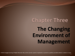 Mngt CH 3 Changing Enviro in Management