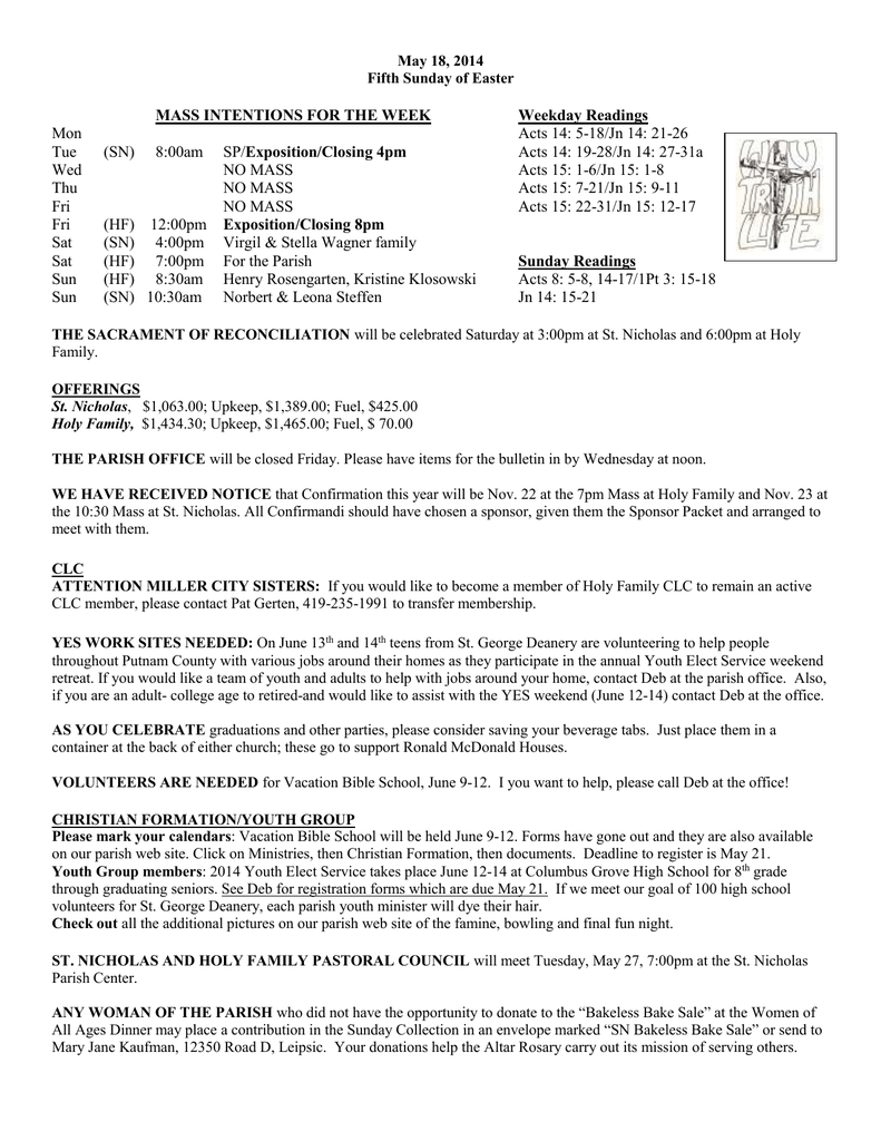 may 18 2014 fifth sunday of easter mass intentions for the