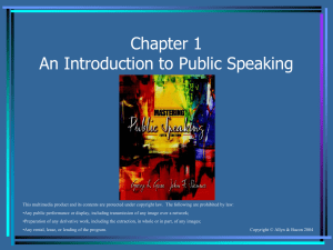 Chapter 1 An Introduction to Public Speaking