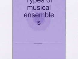 Types of musical ensembles