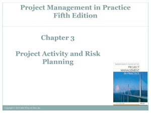 Project Activity and Risk Planning