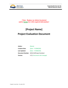 Project Evaluation Document