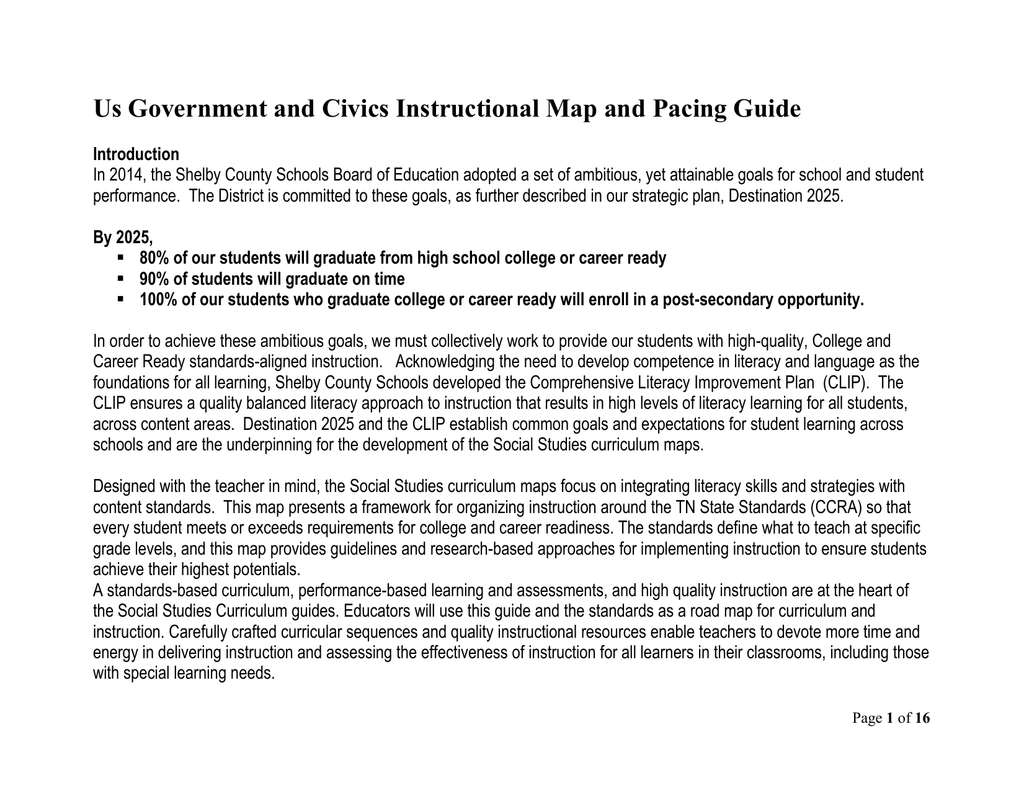Us Government And Civics Instructional Map And Pacing Guide - Map-of-us-government