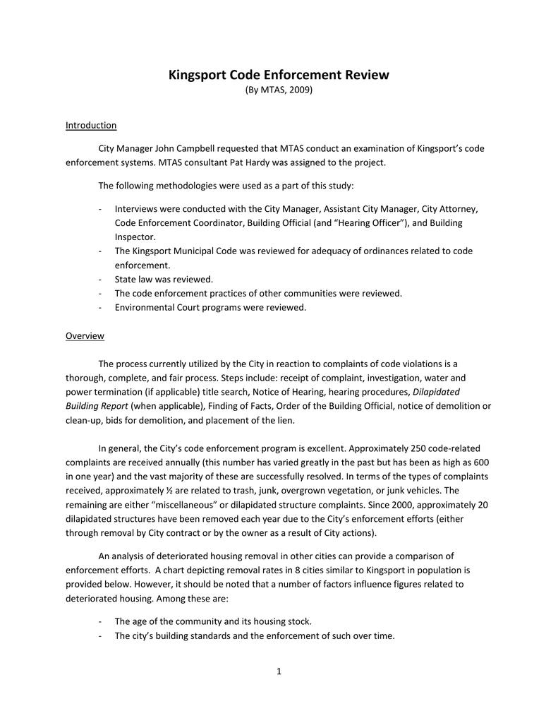 Kingsport Code Study