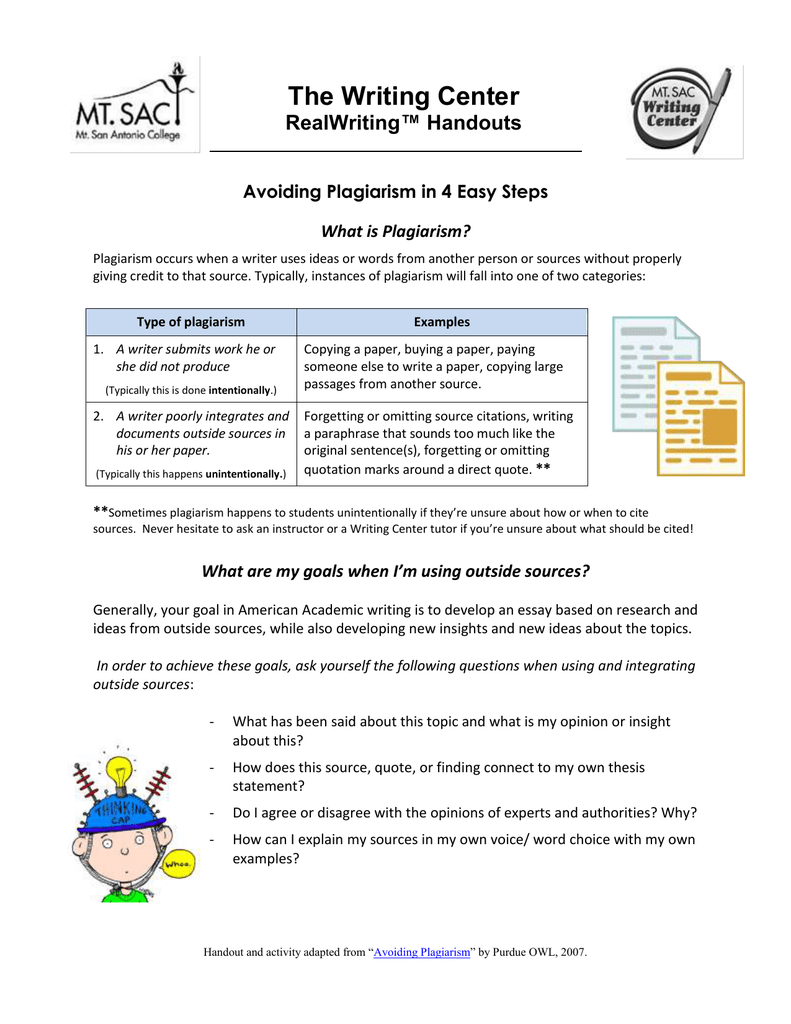the writing center realwriting handouts avoiding plagiarism in