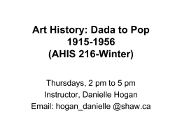Art History _Dada to Pop_lecture #2_blog notes