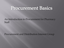 PDIG Procurement Basics Course - Guild of Healthcare Pharmacists