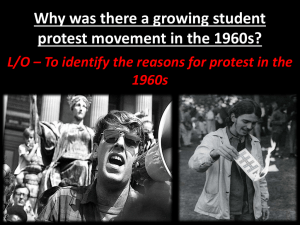 Why was there a growing student protest movement in the 1960s?