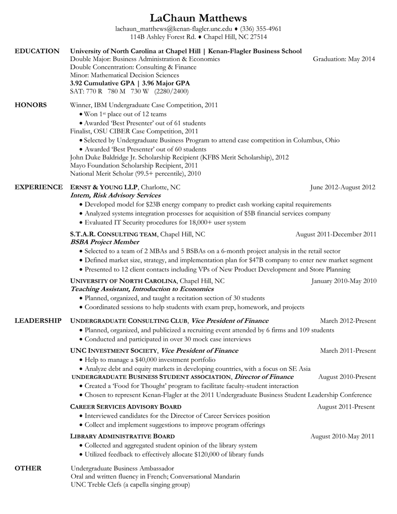 Bsba Resume Sample 1