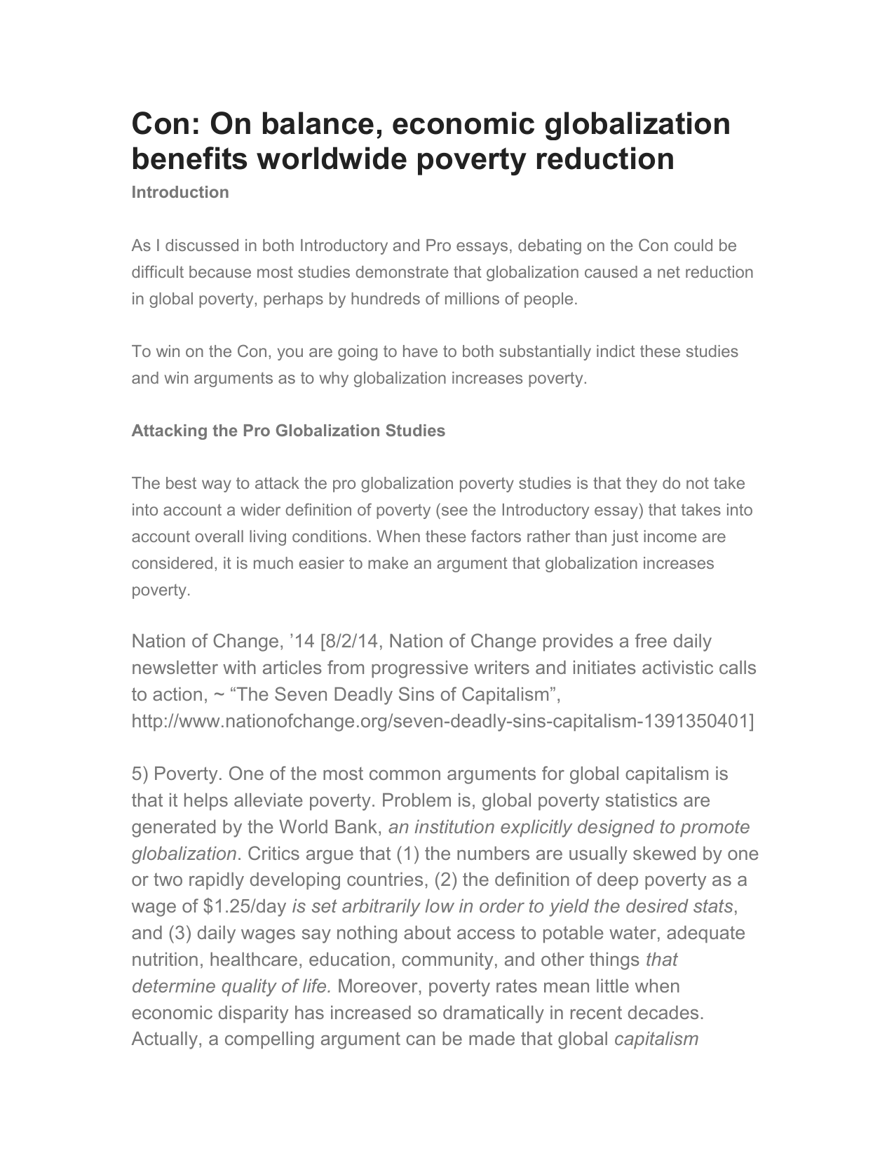 Globalization and poverty essay